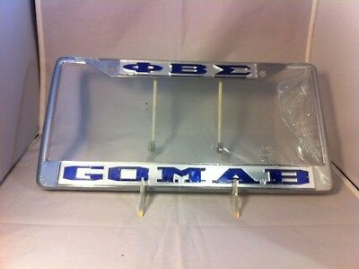 Phi Beta Sigma Fraternity Go Mab License Plate Frame- Silver/ Blue-New!