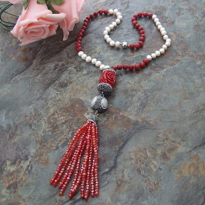 24'' White freshwater Pearl Red Coral Necklace Resin Crystal carved  Pendant