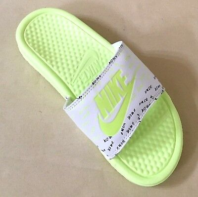 d91f7c599b20 Women Nike Benassi JDI Print Sandals Slides Volt White 618919-108 Multi  Sizes