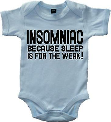Insomniac because sleep is for the weak!' pale blue bodysuit