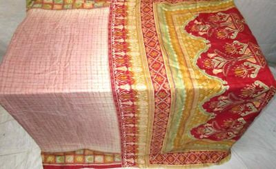 Cream Red Pure Silk 4 yd Vintage Antique Sari Saree Israel recycled Great #9B4YT