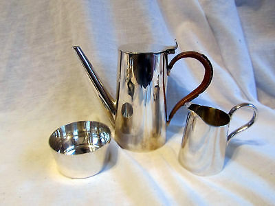 An Antique Silver Plated Dainty Teapot Cream And Sugar
