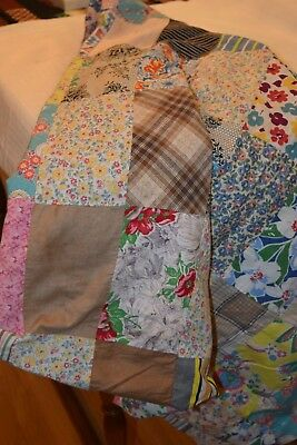 """1920's Hand Stitched Patchwork Quilt Top,76"""" x 66"""",Mostly Old Feedbag Material"""