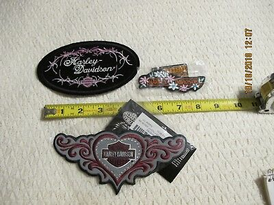 Lot of 3 Harley Davidson Motorcycle Patches Pink Black Red Hearts Flowers