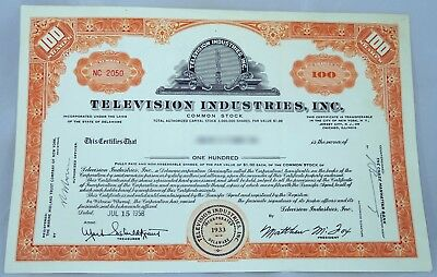 Old Vintage Stock Certificate Television Industries, Inc. 1958 Clean 100 Shares