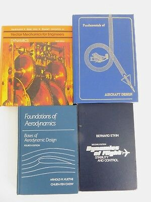 Lot of 4 Aerodynamics of Flight, Aircraft Design, Vector Mechanics Books 1980's
