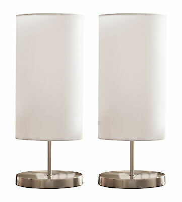 Kings Brand Brushed Nickel / White Fabric Shade Table Lamps (Set of 2)