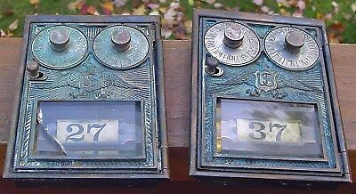 Vintage LOT of 2 DOUBLE DIAL POST OFFICE BOX DOORS US Embossed Eagle USPS Brass