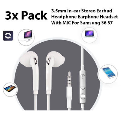 3 Pack Stereo Earphone In-Ear Earbuds Headphone with Mic for Samsung S6 S7 Edge