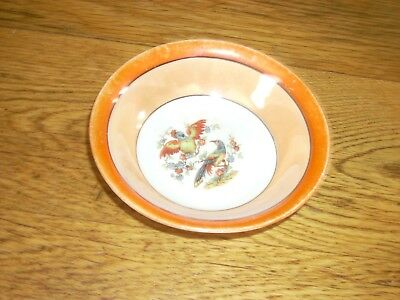 Vintage Antique Two tone Orange Bowl Made in Germany Lustre Hand Painted  Birds