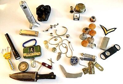 Authentic Old Antique Junk Drawer Lot: Knives, Jewelry, Chains, Ring, Brass, NR