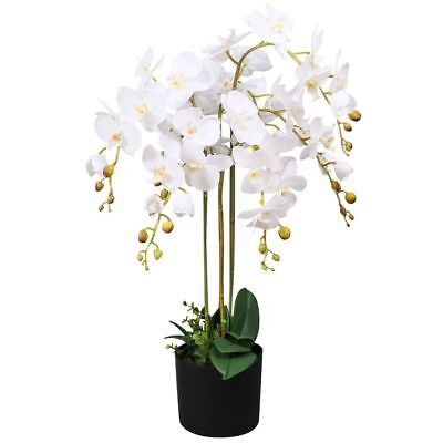 vidaXL Planta Artificial Orquídea con Macetero Altura Total 75 cm Color Blanco