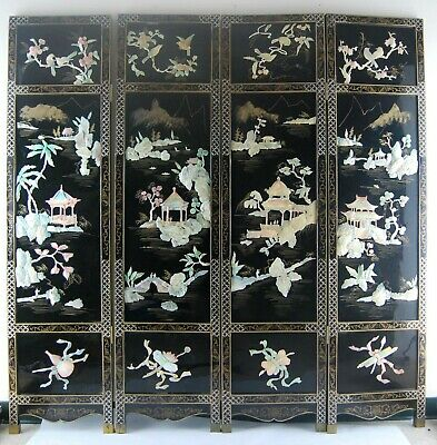 VTG 4 Tall Asian Black Lacquer Mother of Pearl Nature Art Panels Room Divider