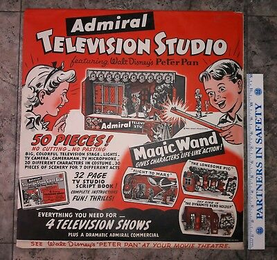 Vintage 1950s Admiral TV Play Set Walt Disney PETER PAN Sky King Flight to Mars