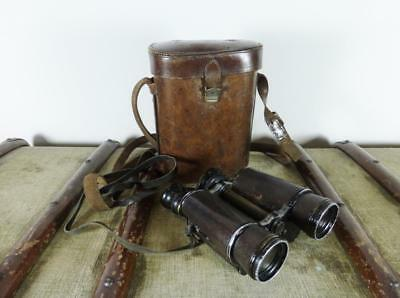 WW1 Era French Extra Lumineuse 12x Huet Paris Military / Field Binoculars & Case