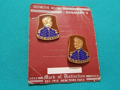 Pair New Old Stock OLD HICKORY HQ Insignia Pins 30th Infantry Division WWI WWII
