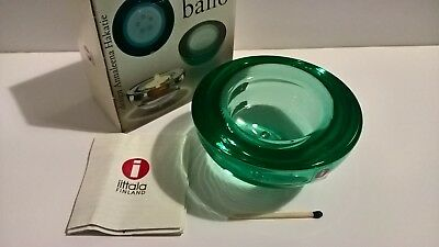 Iittala Finland Ballo glass candle votive sea green in original box Nordic art