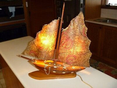 Vintage Wooden Sailing Ship Lamp Good Working Condition