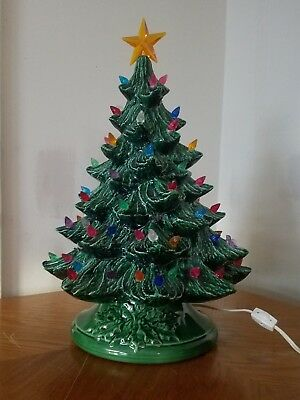 Vintage Ceramic Christmas Tree Green Atlantic Mold 16 W Star