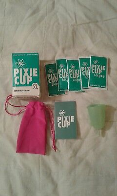 Pixie Resuable Menstrual Cup XL Extra Heavy Flow + 5 Wipes + Carry Bag