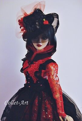 "Ooak Gown Fashion Dress 18.5"" Evangeline Ghastly Parnilla Red Black Collet-Art"
