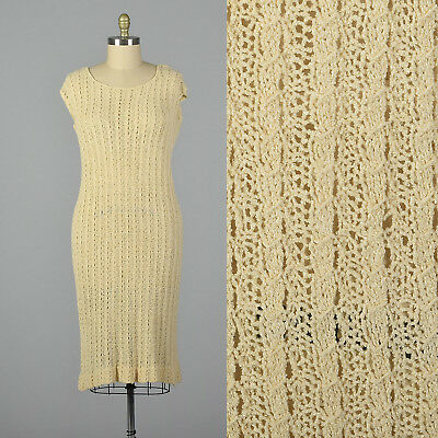 XL 1920s Cream Cable Knit Day Dress Casual Art Deco Spring Short Sleeves 20s VTG