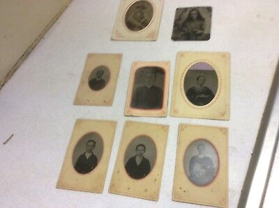 Antique Tin type photographs lot of 8 (very Early)