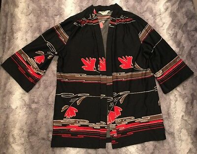 Vtg 1960s Edith Martin Black Red Floral Cover Up One Size Kimono Jacket