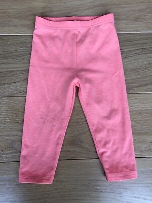 Next Baby Girl Neon Bright Coral Leggings Trousers 9-12 M