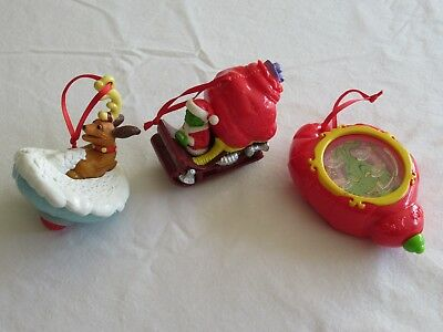 Lot 3x Ornaments Toy Wendy's Dr Seuss How The Grinch Stole Christmas Sleigh Max