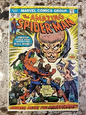 Amazing Spiderman #138 1st Appearance of Mind Worm Beautiful High Grade Book