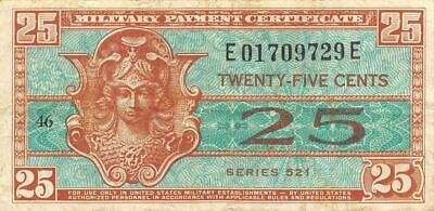USA / MPC  25  Cents  ND.1954  M31  Series  521 Plate # 46  Circulated Banknote
