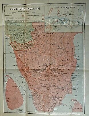 Antique map of India (Southern) in 1803, published in 1910