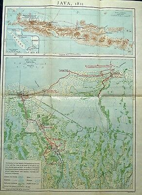 Antique map of Java and Batavia (Jakarta) in 1811, published in 1910