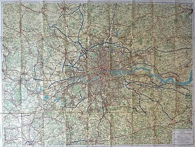 Vintage map of Greater London, published in 1950's