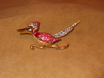 Vintage ROADRUNNER BROOCH PIN Pink Glass Rhinestone Enamel Gold Tone Bird