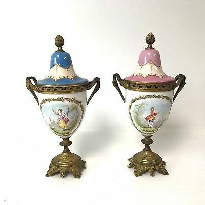 Pair of Antique French Porcelain Urns