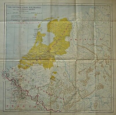 Antique map of Netherlands (Holland),  Prussia, and Belgium, published in 1910