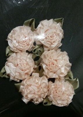 6 Satin Ribbon Flowers Bows Rose Sewing Wedding Appliques