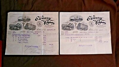 Vintage E. Swasey Co. Invoices 1910 & 1911 Pottery Glass Portland Maine Paper