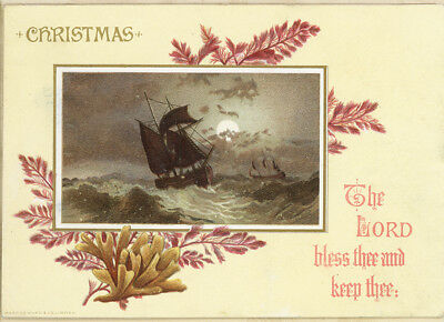 1886 Marcus Ward Lord Bless Thee Storm Ship Antique Victorian Christmas Card
