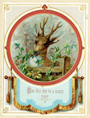Happy Year Stag at Fence w Verse Back Antique Victorian Greeting Card
