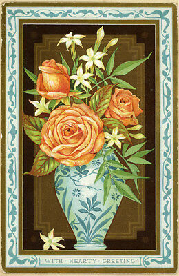 Lg Marcus Ward Asian Blue Vase Apricot Roses Antique Victorian Greeting Card