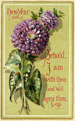 Lg Marcus Ward Behold I Am With Thee Begonia Leaf Antique Victorian NewYear Card