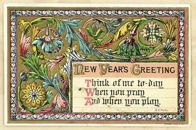 Marcus Ward Gold Scroll Think of Me Pray Play Antique Victorian Greeting Card
