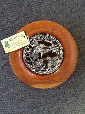 Vintage Australian Handcrafted Wooden Pot Pourri Dish With Metal Lid.
