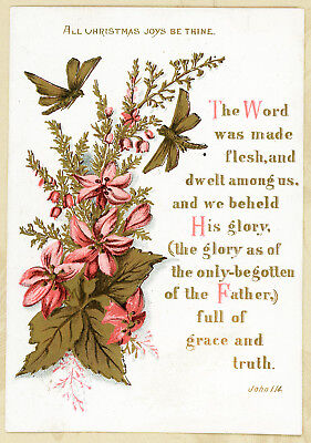 Word Made Flesh Gold Pink Butterfly Antique Victorian Religious Christmas Card
