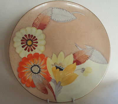 Art Deco Grays  'Sunbuff' XL Plate/Charger Hand Painted & Gilded A2999