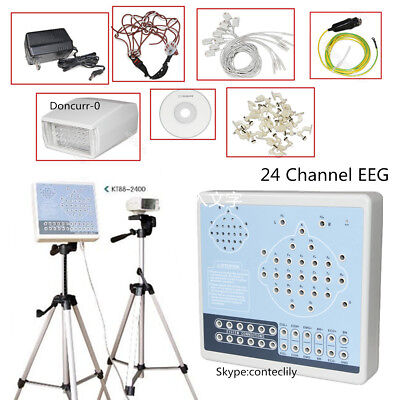 CONTEC KT88 Digital 24-Channel EKG/EEG Machine Mapping System Software+Tripods