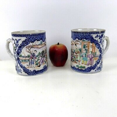 Pair of Large Matching 18th Century Chinese Porcelain Export Mugs